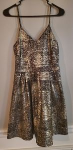 Brand new metallic gold and black skater dress